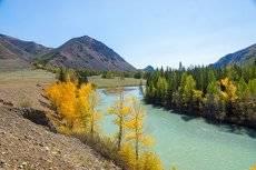 Река Чуя в конце Курайской степи.