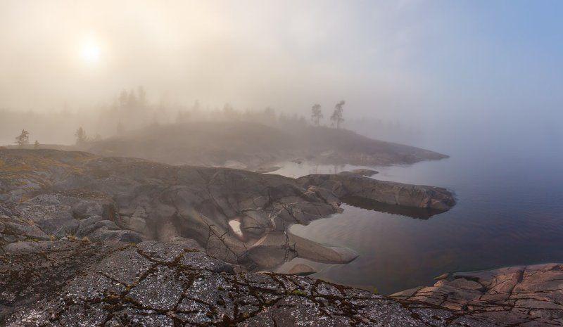 карелия, ладожские шхеры, ладожское озеро, ладога, туман \