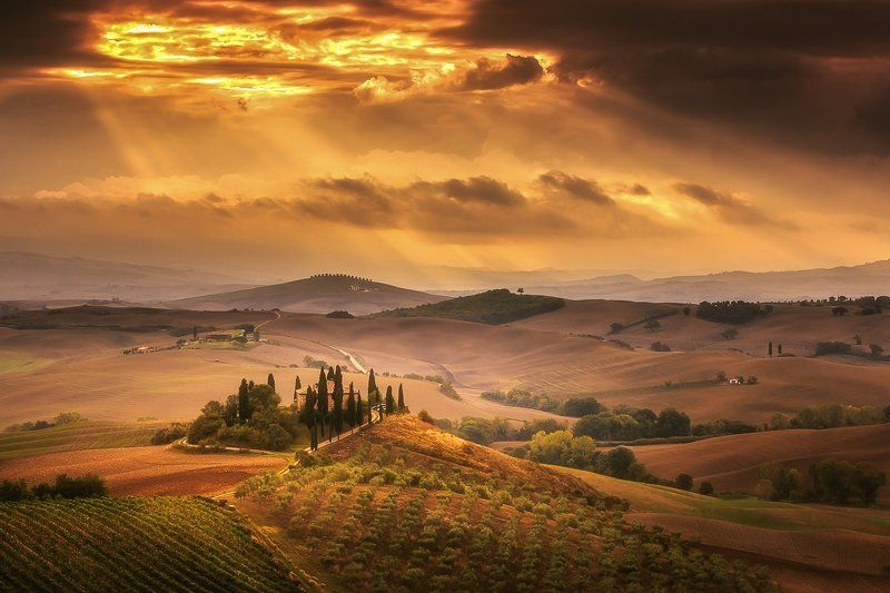 Tuscany, Sunrise, Clouds, Italy, Pienza Tuscanyphoto preview