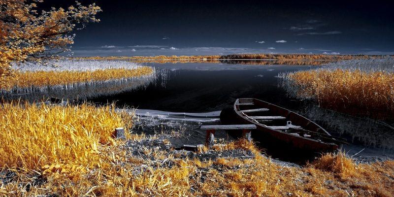 infrared,ик-фото,инфракрасное фото,инфракрасная фотография,пейзаж,природа,беларусь,лето О лодочном настроении. Инфракрасная фотография.photo preview