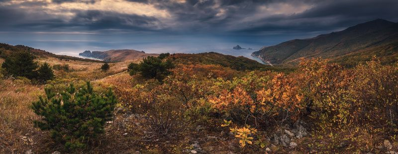 панорама, осень, море, скалы, камни Осень и лазурные воды...photo preview