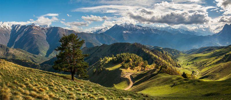 природа, пейзаж, кавказ, горы, весна, вечер, панорама, закат, солнце, небо, облака, свет ***photo preview