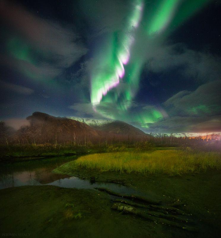 пейзаж,сияние,звезды,россия,горы,панорама,отражение,перспектива,осень,снег,хибины Auroraphoto preview