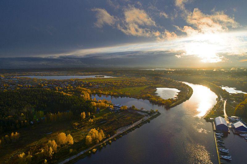 Россия, канал имени Москвы, осень, солнце, дрон, аэро, #aerial Навстречу зиме!photo preview
