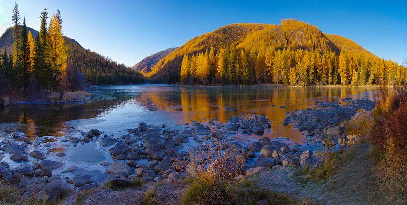 пейзаж, алтай, сибирь, река, аргут, утро, осень, вода, горы, валерий_чичкин Утро на реке Аргутphoto preview