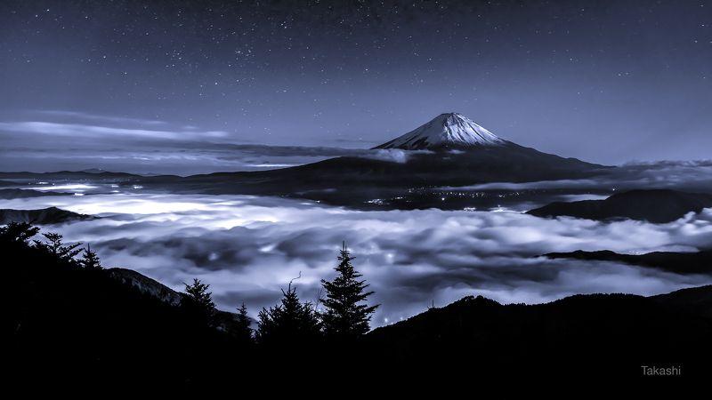 Fuji,Japan,mountain,clouds,sky,stars,sea of clouds,tree,night,moonlit,amazing,beautiful,snow Daybreak feastphoto preview