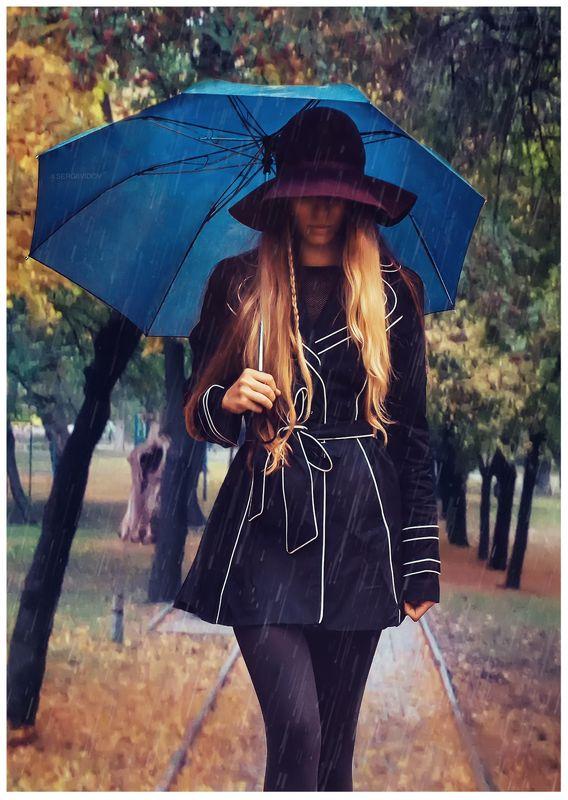 девушка, дождь, осень, парк Незнакомкаphoto preview