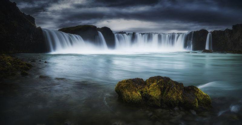 waterfall, landscape, nature, iceland, travel, dark, пейзаж Godafossphoto preview