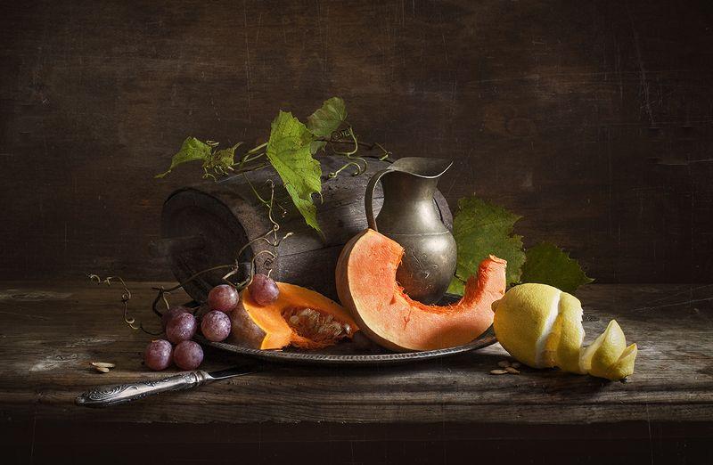 натюрморт, тыква, виноград,still life, лимон, овощи, осень Натюрморт с тыквой и лимономphoto preview