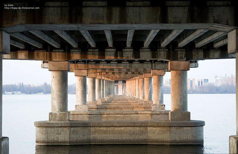 город, мост, река, днепр Под мостом №1photo preview