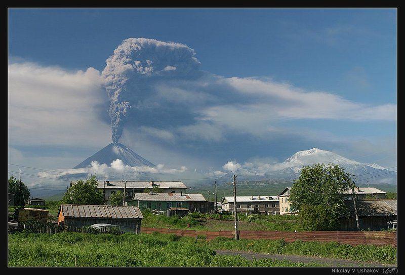 камчатка, извержение, вулкан, ключевской, июнь, 2007 Извержение вулкана Ключевской (вид из п. Ключи)photo preview