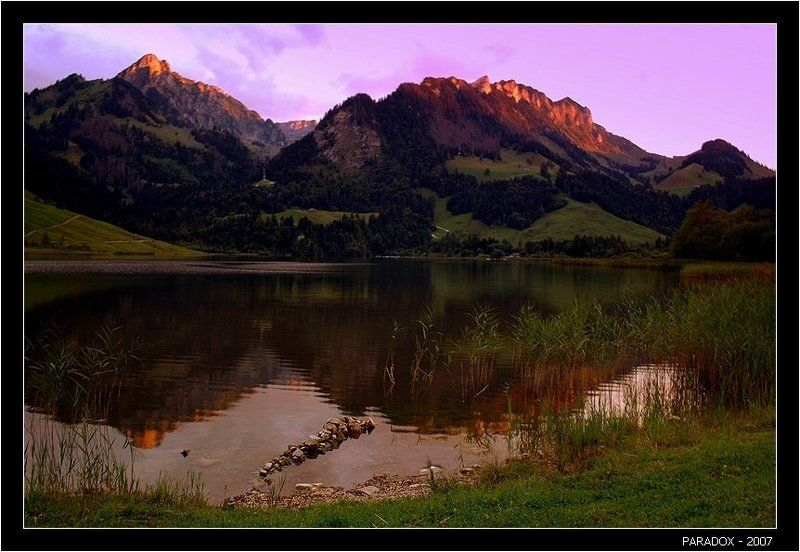 швейцария, schwarzsee, fribourg, черное озеро, закат, paradox Тишь догорающего дняphoto preview