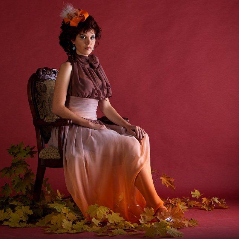 портрет, девушка, листья Осеньphoto preview