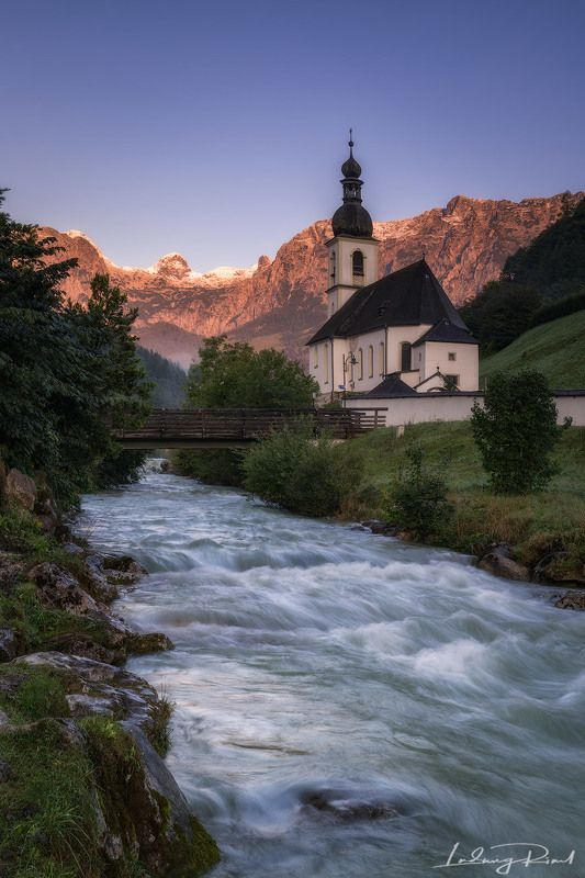bavaria, bayern, blue, bridge, brook, bushes, church, church tower, currents, flow, fog, forest, germany, grass, green, madow, mist, morning, morning glow, mountains, mountaintop, pink, ramsau, ramsauer kirche, river, rocks, snow, stream, sunrise, tower,  Parish Church of St. Sebastianphoto preview
