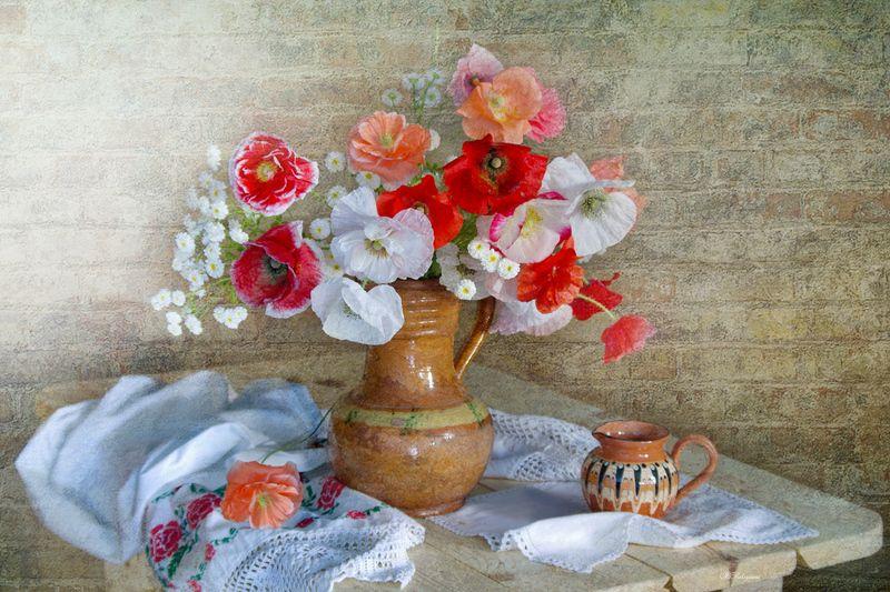 букет,маки,натюрморт,цветы,вера павлухина, О чём шепчутся маки ...photo preview