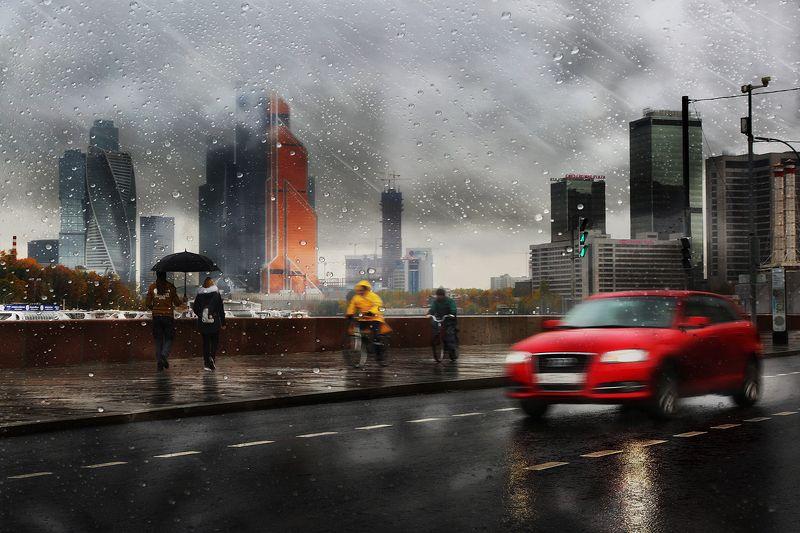 дождь, капли, машина, трасса, дорога, москва, зонт, скорость, двидение, асфальт, город, осень Вот и лето прошло...photo preview