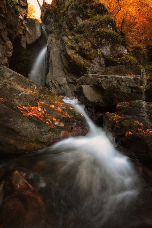 autumn waterfall forest colrs Осеньphoto preview