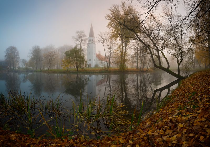 панорама пейзаж утро туман сигулда латвия осень рассвет Сигулда в туманеphoto preview