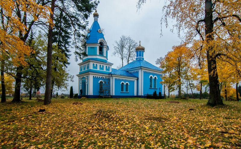 church,autumn Inturkė Church of Our Lady of Saintsphoto preview