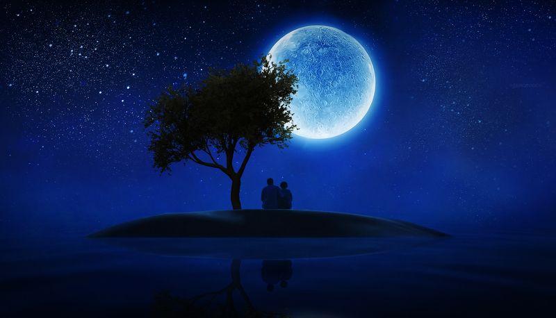 луна, ночь, пара, пожилые люди Настоящая любовь не терпит постороннихphoto preview