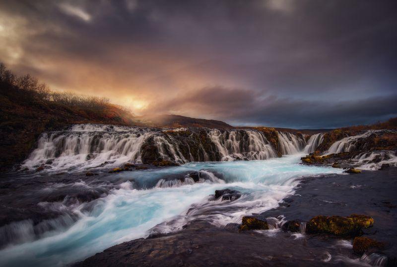 burarfoss, iceland, landscape, waterfall, sunset Burarfossphoto preview