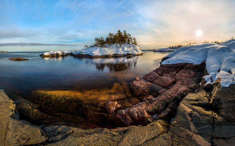 ладожское озеро, карелия, остров, зима, снег, сосна, солнце, фототур, лёд, скалы, шхеры, гранит, Разноцветный гранит Ладогиphoto preview