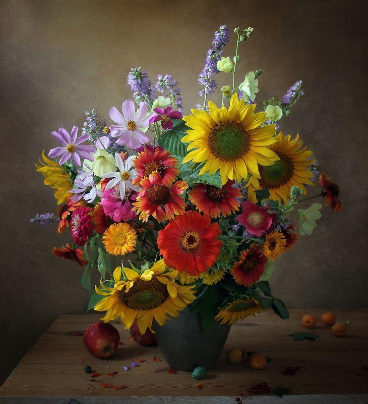 натюрморт, цветы, марина филатова, подсолнухи, яблоки, лето У лета много ярких красокphoto preview