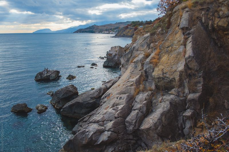 autumn, russia, sea, sunset, mountains, color, nature, sky, море, осень, горы, crimea, россия, крым ***photo preview