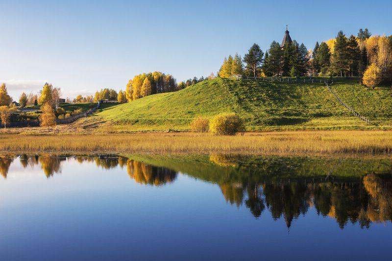 осень, сентябрь, деревья, вода, река, горка, отражения Из \