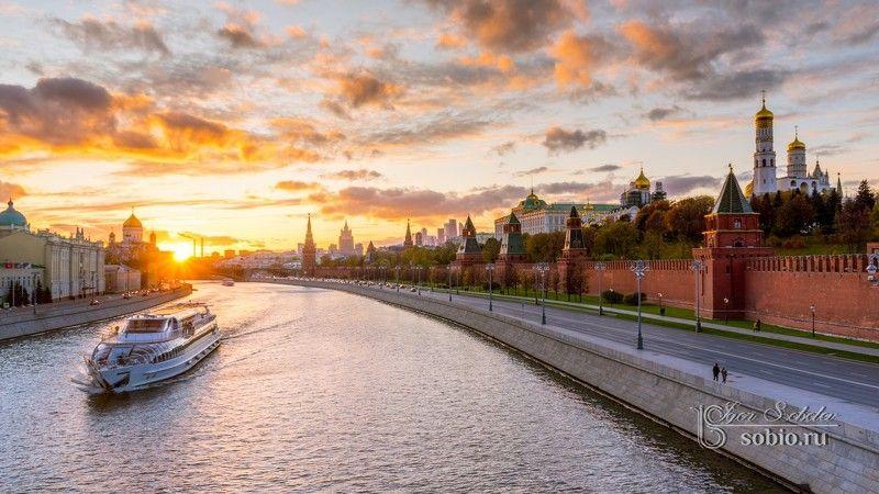 кремль, москва, закат, kremlin, moscow, sunset, igorsobolevcom Панорамный вид на Кремль и лодочкуphoto preview