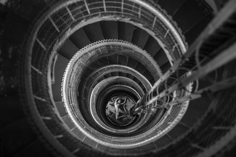 naked, nude, spiral beautiful, woman, girl, stairs First woman on Moonphoto preview