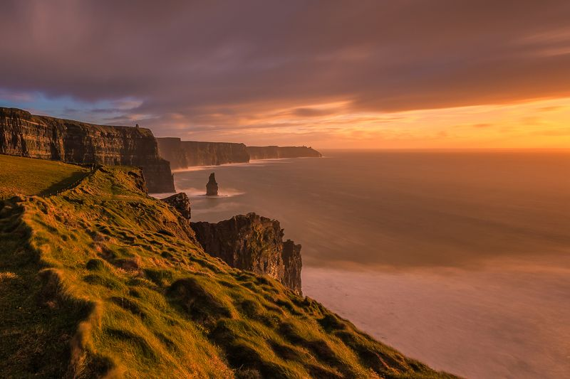 Cliffs of Moher, Longexposure, Lee, Ireland,Sunset Cliffs of Moherphoto preview