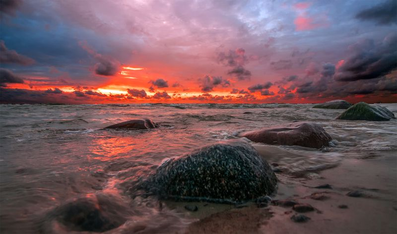 sunset,sea,sky,colors,stones Sunset only you...photo preview