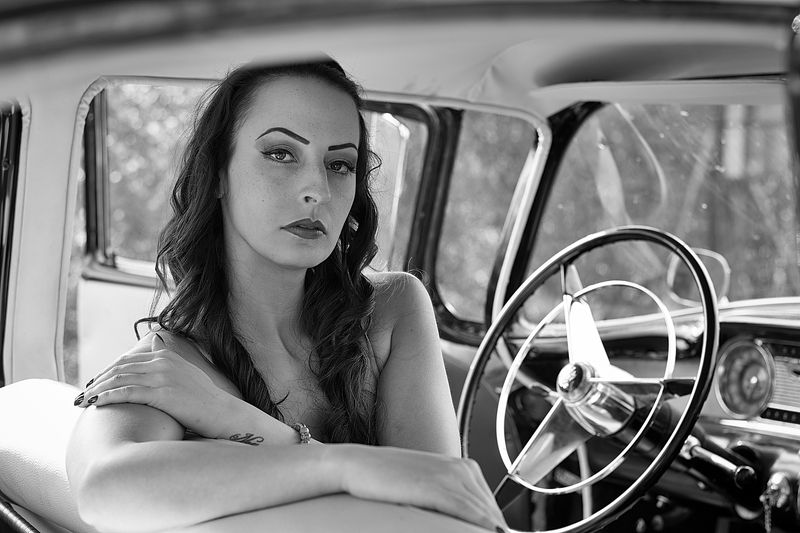 model, glamour, woman, female, black and white, body, sexy, sensual,  curves, portrait, erotica, lingerie, car, natural light, fashion, people, Eszterphoto preview
