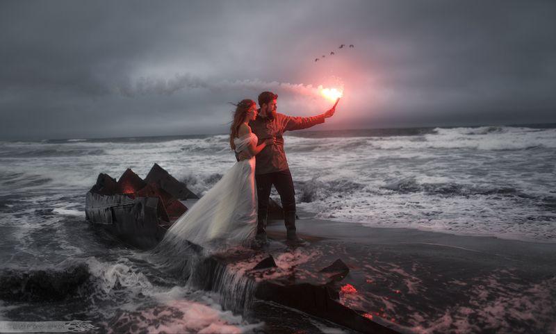 камчатка, океан, свадьба, волны, огонь, ветер photo preview
