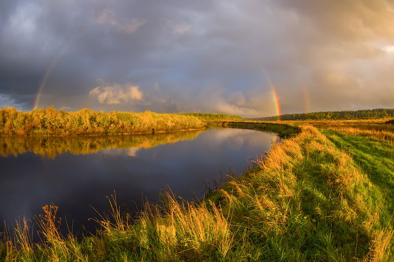 радуга река небо дождь  октяборь река осень про  радугу осеннюю....)photo preview