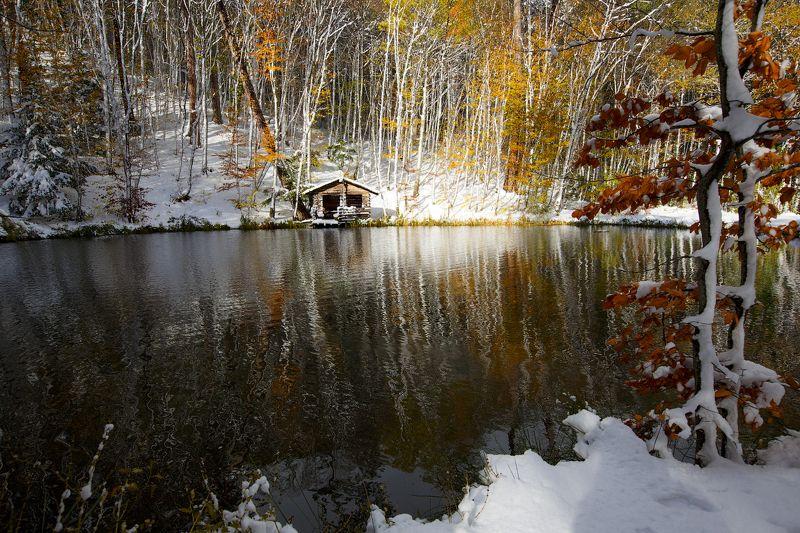 пейзаж, крым, озеро, осень, снег, деревья, Осенний мотив.photo preview