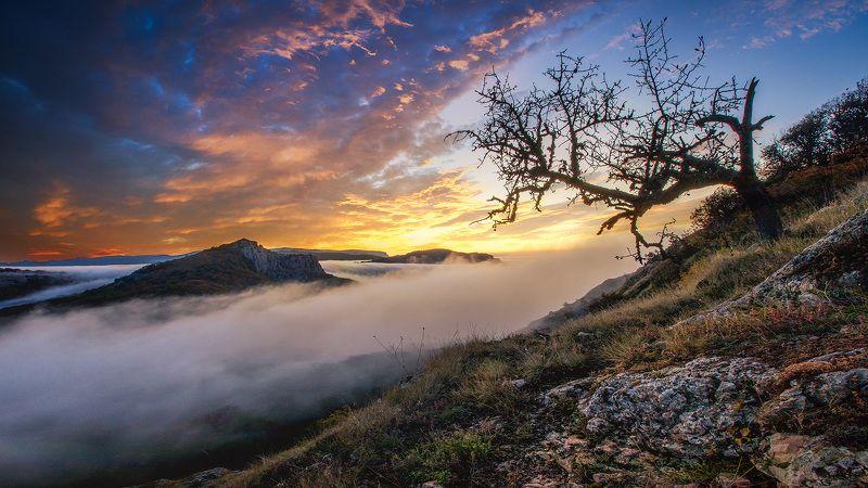 крым,храм,солнца,туман, утро,скалы, гора, ландшафт,пейзаж,солнце,тучи Рассвет в горах.photo preview