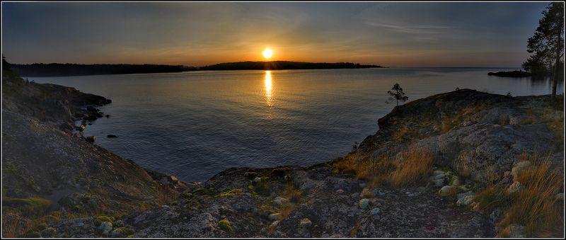 карелия, ладожское оз.,сентябрь, утро, панорама Рассвет на Ладожском озереphoto preview