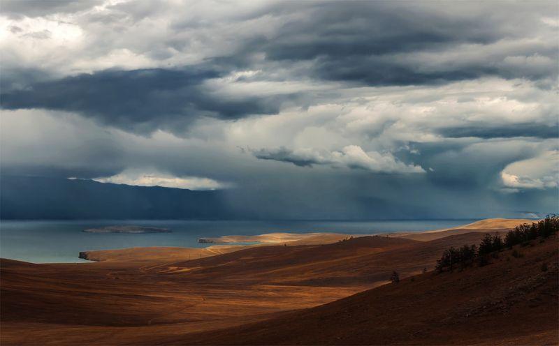 природа, пейзаж, сибирь, озеро, байкал, остров, ольхон, дождь, лето, горы, холмы, тучи, Грозовой фронтphoto preview