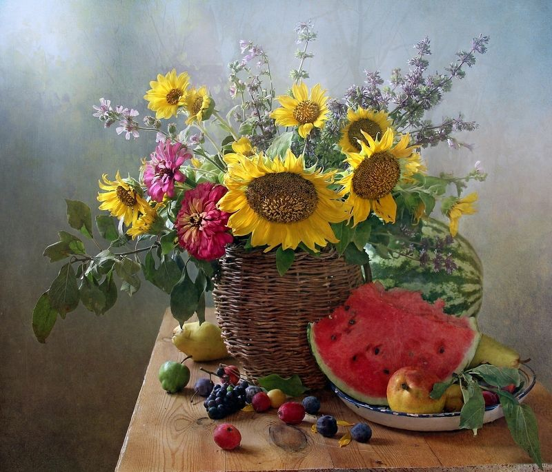 натюрморт, цветы, марина филатова, подсолнухи, яблоки Уходящее летоphoto preview