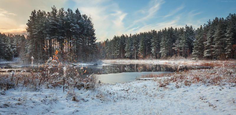 пейзаж,озеро,снег,отражение,небо,зима,лес,перспектива photo preview