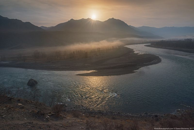алтай, сибирь, siberia, рассвет, altai, катунь, солнце, утро, katun Нежность Ноябряphoto preview