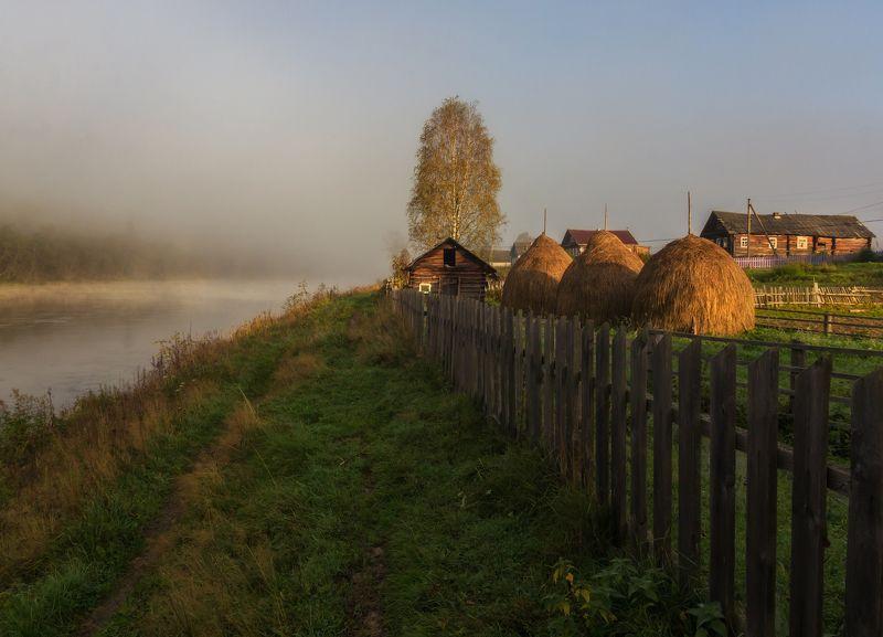 туман, утро, деревня, река, вепсский лес Утро в рыбацкой деревнеphoto preview