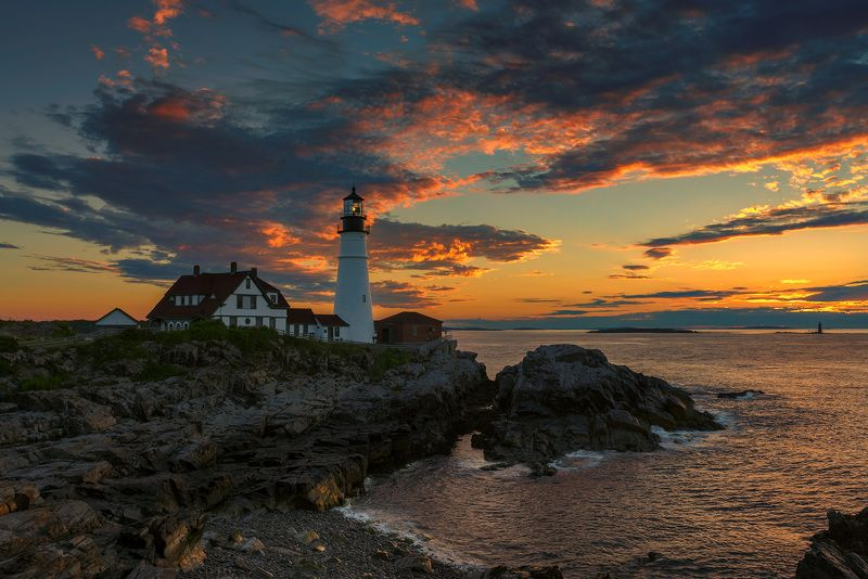 lighthouse,  maine, portland, head, usa,  cape, elizabeth, portland head light , sunrise, scenic, scenery, sunset, coastline, color, landscape, sea, water, rocks, photography, monument, ocean, atlantic, new, england, coast, east, light Portland Lighthousephoto preview