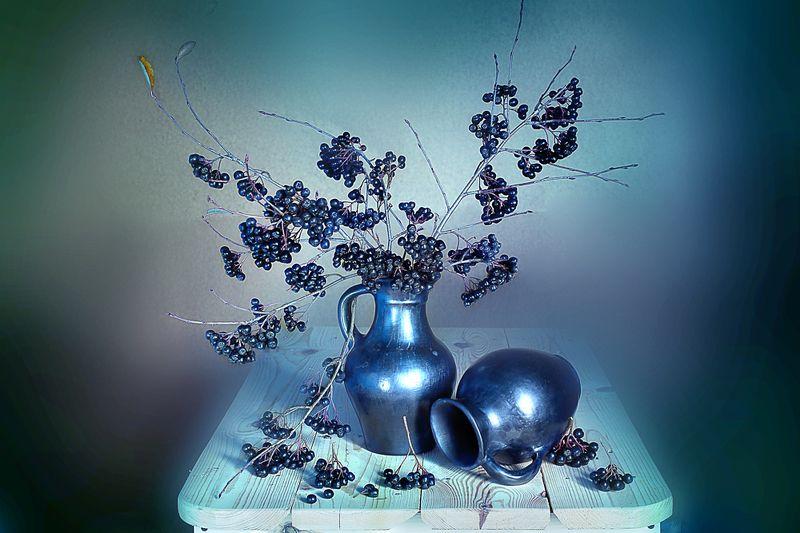 натюрморт , рябина , черноплодная , глиняные изделия , С черноплодной рябинойphoto preview