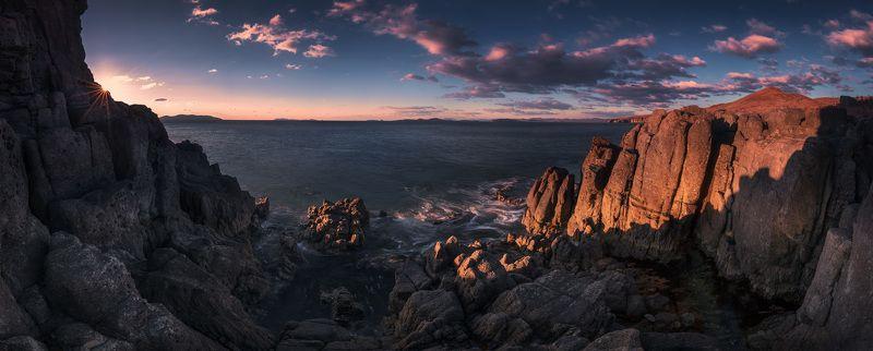 панорама, осень, море, утро, скалы ***photo preview