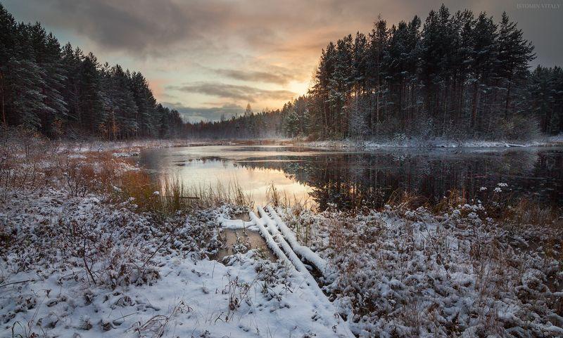 пейзаж,кулой,россия,озеро,отражение,свет,небо,перспектива,зима,первый снег photo preview