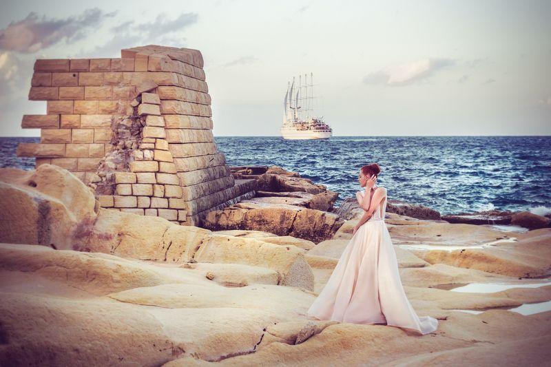 woman, fashion, sunset, malta, dress, beauty, vessel, sea, colros Let your dreams set sailphoto preview