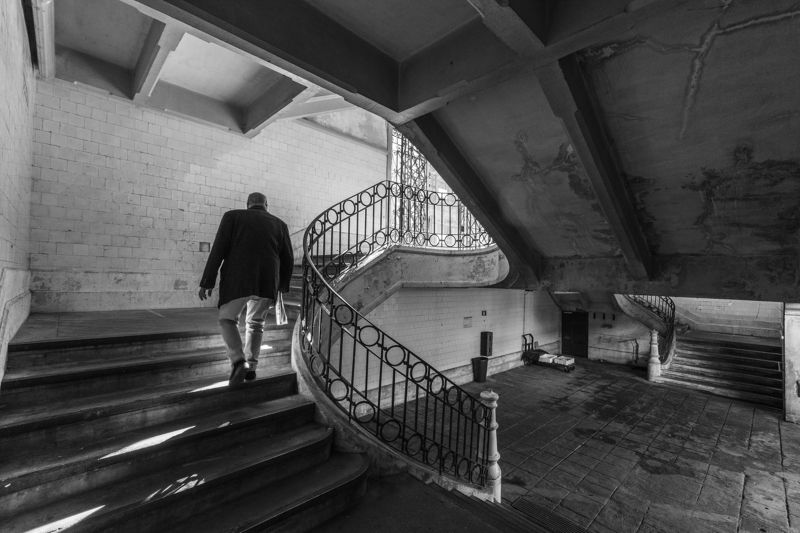 city, old, street, bnw, people, stairs Going upphoto preview